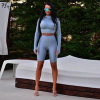 Hugcitar high neck long sleeve elastic crop tops shorts 2 pieces set 2018 autumn winter women fashion casual solid sets