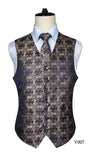 Men's Classic Paisley Jacquard Waistcoat Vest Handkerchief Party wedding Tie vest Suit  Pocket Square Set