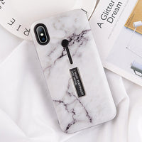 USLION Marble Case For iPhone 7 Plus XR XS Max Hide Ring Stand Holder Phone Cases For iPhone X 8 7 6 6s Plus Hard PC Back Cover