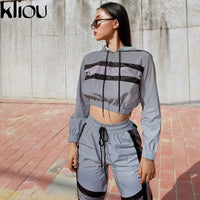 Kliou 2018 new arrival women Reflective two pieces sets Silver pactwork ctop top sweatshirts elastic drawstring pants tracksuits