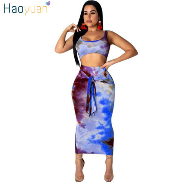 HAOYUAN Sexy Two Piece Set Club Outfits Tie Dye Crop Top and Midi Skirt Set Bodycon 2 Piece Summer Clothes Women Matching Sets