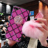 Glitter Retro palace Marble Cases DIY Fur Hair Ball+Crystal Bracket+ Strap Phone Case For iphone 6 6s 7 8 Plus XS MAX XR Coque