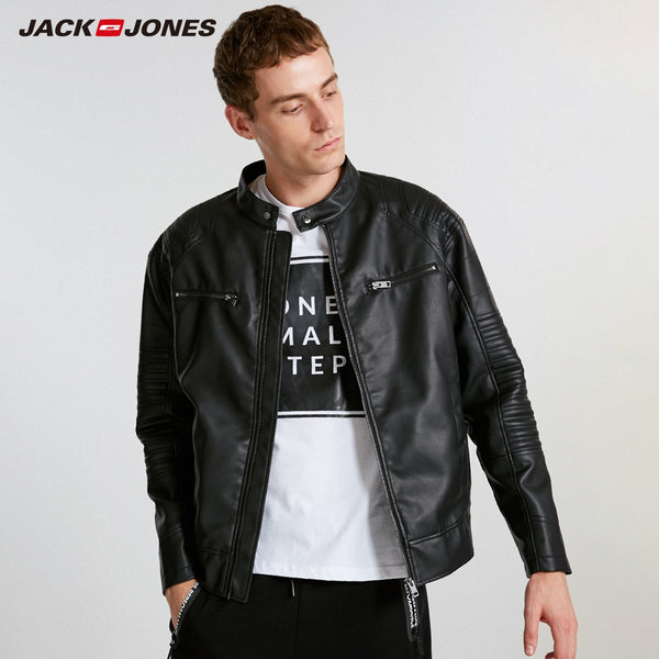 JackJones Men's Spring Casual PU Jacket Slim Casual Coat Men's Brand Clothing Fashion Coats Male Biker Outerwear C|218321558