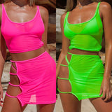 BKLD Neon Green Hot Pink Transparent Mesh Two Piece Sets Casual Beach Outfits Women Sexy Hollow Out Bodycon Mini Skirt+Crop Tops