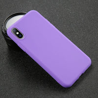 USLION Phone Case For iPhone 7 6 6s 8 X Plus 5 5s SE XR XS Max Simple Solid Color Ultrathin Soft TPU Case Candy Color Back Cover