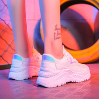 2019 Women Shoes Autumn White Shoes Sneakers Women Fashion Brand Retro Platform Shoes Ladies Footwear Breathable Mesh Sneakers