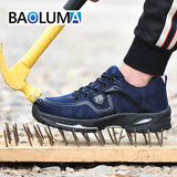 Men Safety Shoes Breathable Summer Boots Anti-smashing Anti-puncture Steel Toe Caps Anti-piercing Breathable Mens Work Shoes