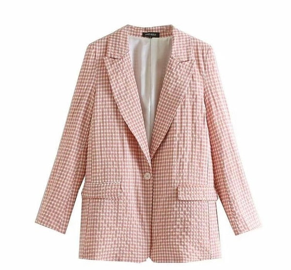 2019 Pink Plaid Suit Sets Single Button Blazer High Waist Harem Pants Office Lady Formal Summer Two Piece Set
