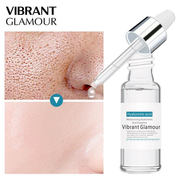 VIBRANT GLAMOUR Hyaluronic Acid Shrink Pore Face Serum Moisturizing Whitening Essence Face Cream Anti-Aging Dry Skin Care New