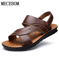 Men's Summer Sandals Genuine leather comfortable slip-on casual sandals fashion Men slippers zapatillas hombre size 38-44 129M