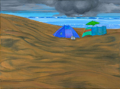 Beach with Blue & Green Tent