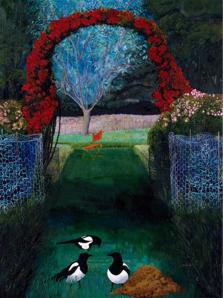 Rose Arch and Magpies