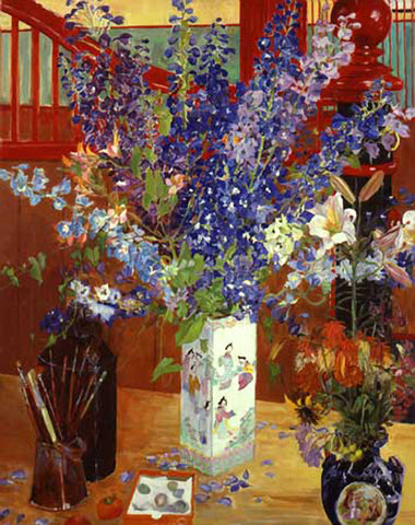 Red Stable with Blue Delphiniums
