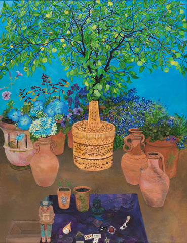 Orange tree on blue