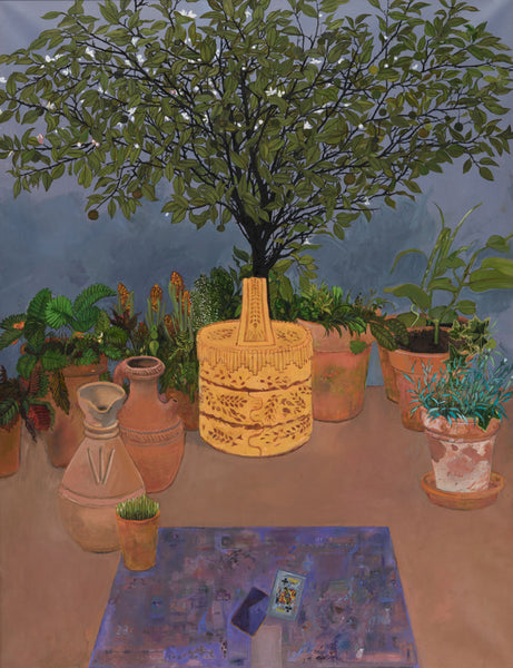 Orange tree on grey