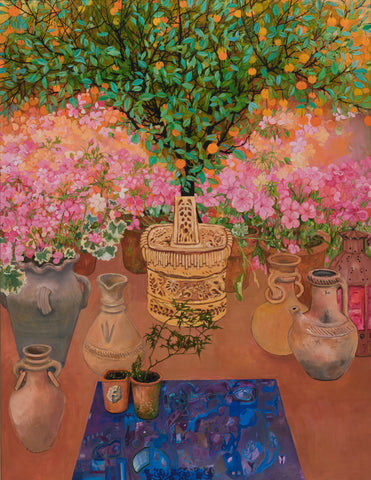 Orange tree on pink