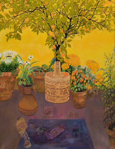 Orange tree on yellow