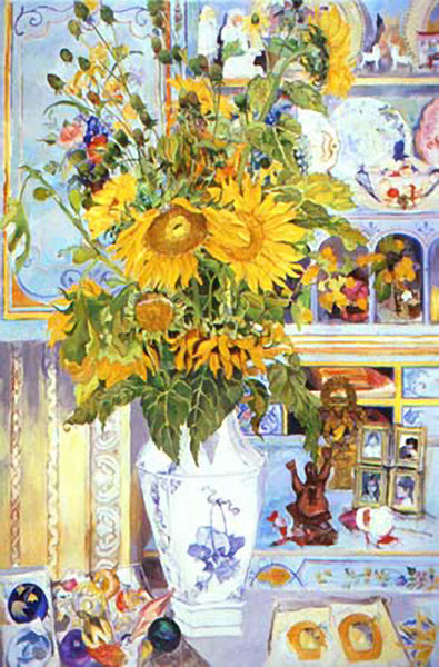 Sunflowers and Blue Desk