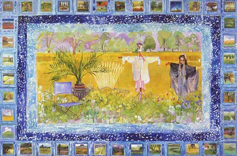 Two Scarecrows with Blue Border