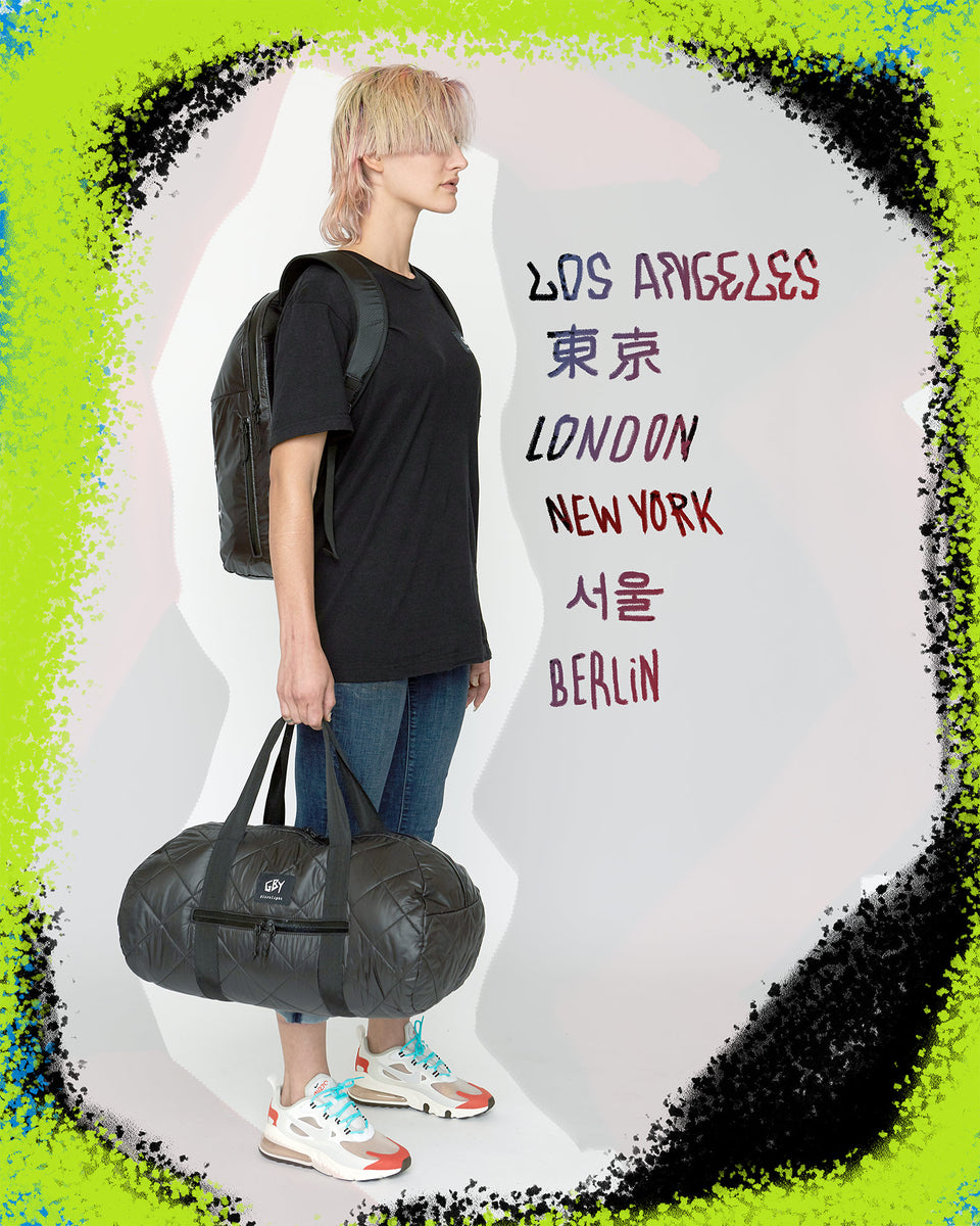 GBY Ultralight - Laptop Day Pack Backpack - Quilted Gym Duffel Bag - Los Angeles - Tokyo - London - New York - Seoul - Berlin