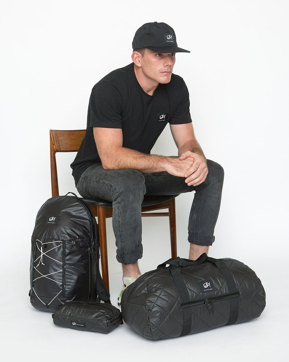 GBY Ultralight - Laptop Day Pack Backpack - Quilted Gym Duffel Bag - Utility Pouch Toiletry Dopp Kit - Black Label Tee - Black Label Hat