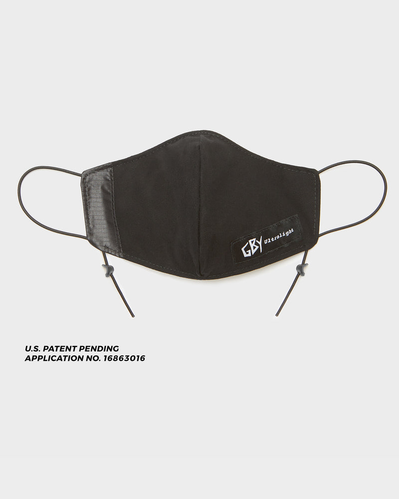 color: black ~ info: Patent Pending Adjustable Cord Construction ~ alt: GBY Ultralight Adjustable Face Mask Patent Pending Adjustable Cord Construction N95 Fabric Filter Pocket Insert