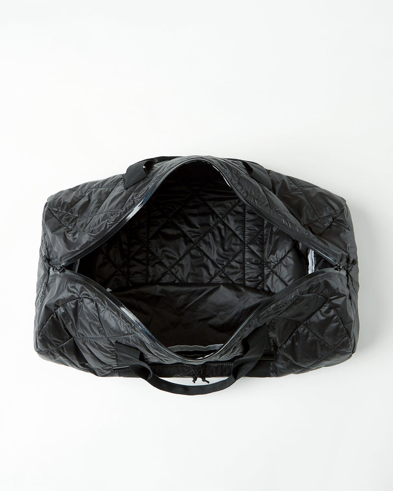 color: black ~ alt: GBY Ultralight - Quilted Gym Duffel Bag Top Open View ~ info: Open from top view