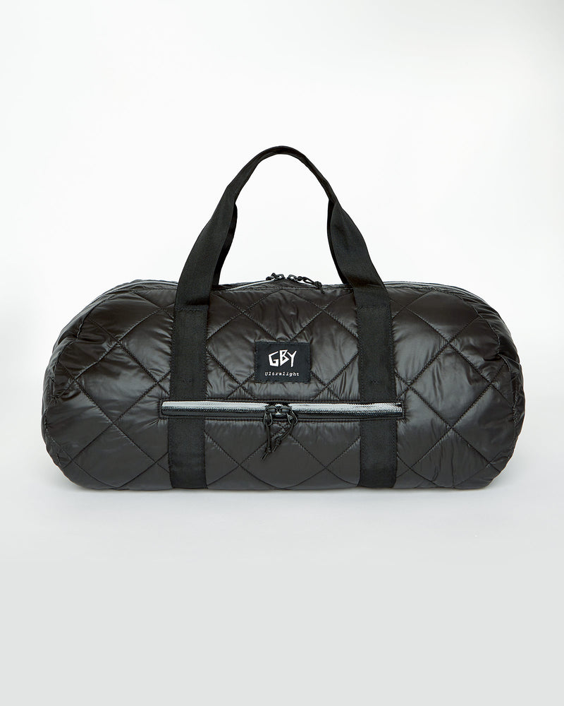color: black ~ alt: GBY Ultralight - Quilted Gym Duffel Bag Front View