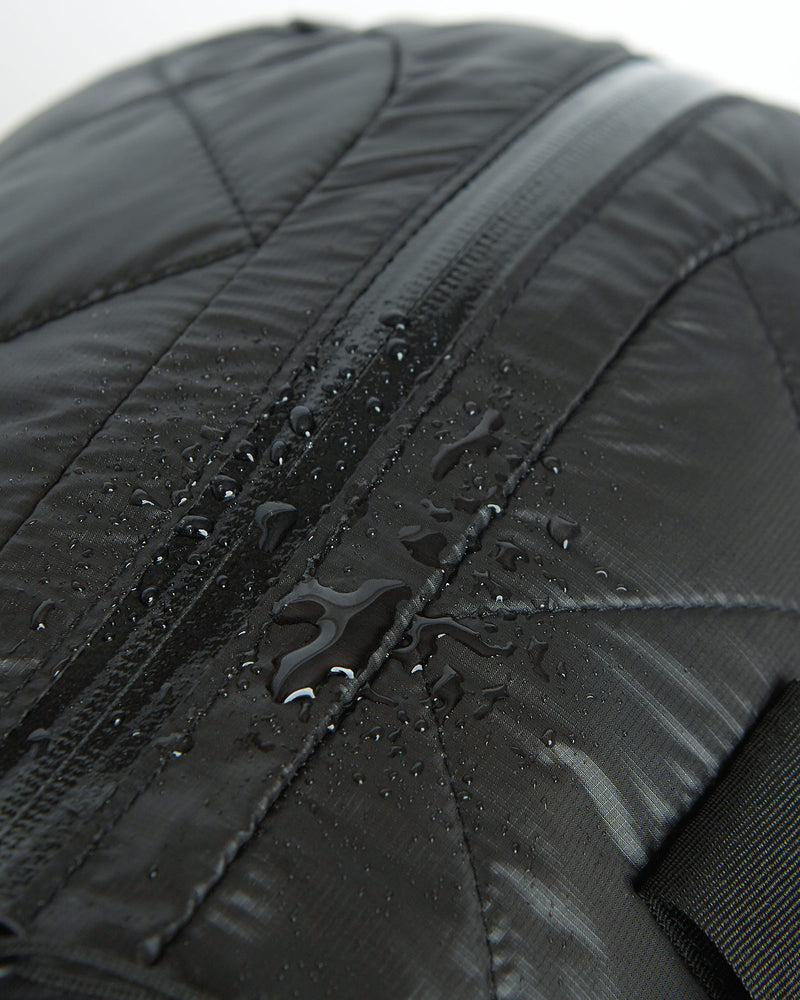 color: black ~ alt: GBY Ultralight - Quilted Gym Duffel Bag Inside Out Detail ~ info: The finest YKK water resistant zippers