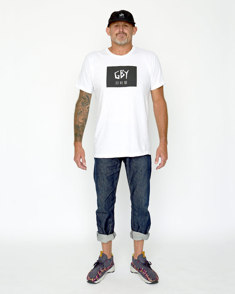 color: white ~ alt: GBY Ultralight Big Label Tee - Tokyo Edition - White ~ model_h: 6'1 wearing size L