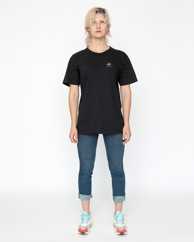 color: black ~ alt: GBY Ultralight Black Label Tee ~ model_h: 5'9 wearing size M