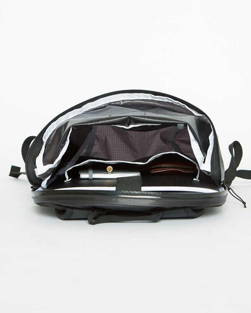 color: black ~ info: Inside view to bottom of bag ~ alt: GBY Ultralight Laptop Day Pack Lightest In The World - Inside view to bottom of bag
