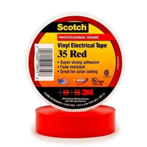 3M Company 35 Vinyl Electrical Tape, 3/4 in x 66 ft, Red, 10 Rolls