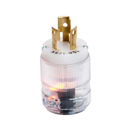 Marinco 15A 125V Plug, Locking w/Neon Light and Clear Housing