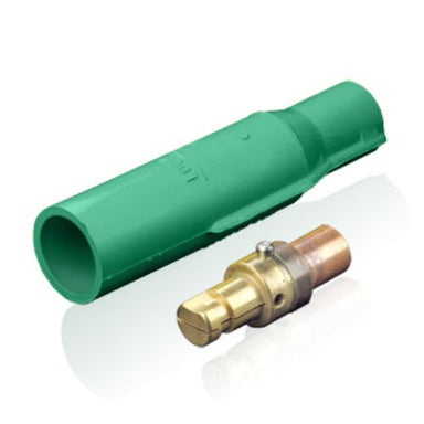 16 Series Cam-Type Vulcanized Plug, Crimp Termination, 3/0 – 4/0 AWG, 400 Amp Max, male, green
