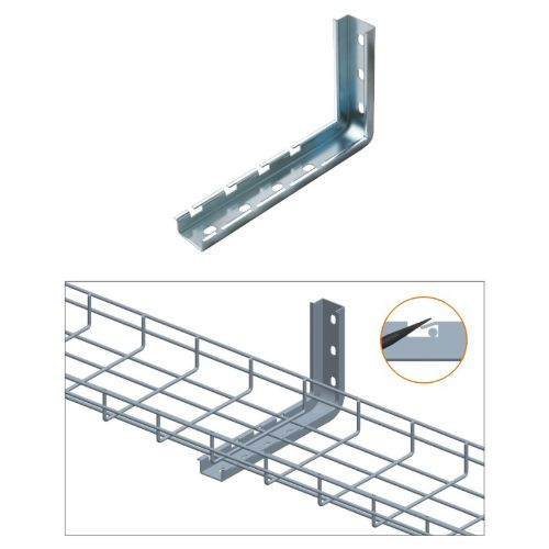 "Quest Manufacturing L Wall Bracket for 8"" wire mesh cable tray"
