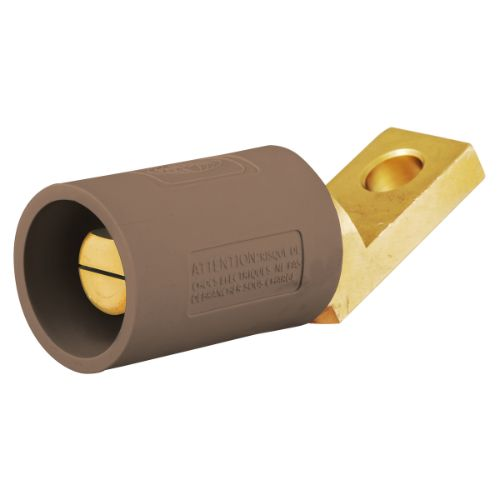 Hubbell Wiring Device-Kellems HBLMOABN Series 16 Offset Straight Style Angled Devices, Male-Brown