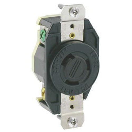 Leviton Manufacturing Company Flush Mtg Locking Receptacle L6-20R, 2P3W 20A - Black