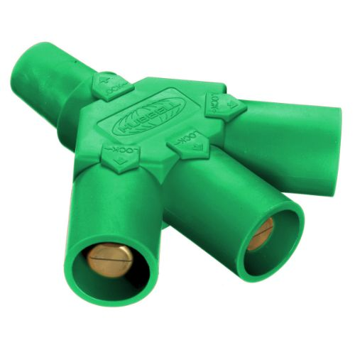 Hubbell Wiring Device-Kellems Series 16 3-Fer Tri-Taps Device, Female to Male/Male/Male - Green Wire Connectors
