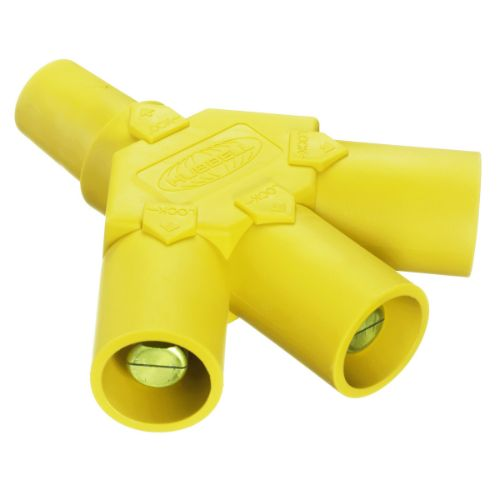Hubbell Wiring Device-Kellems Series 16 3-Fer Tri-Taps Device, Female to Male/Male/Male - Yellow Wire Connectors