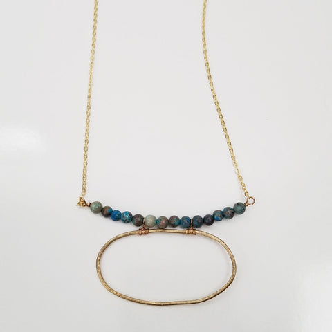 Bead Bar Necklace with Oval Accent