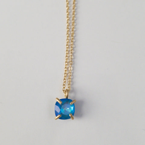 Blue Prong Set Drop Necklace