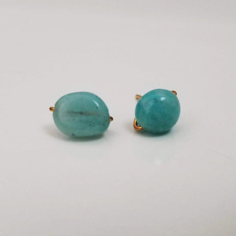 Amazonite Pebble Charming Studs