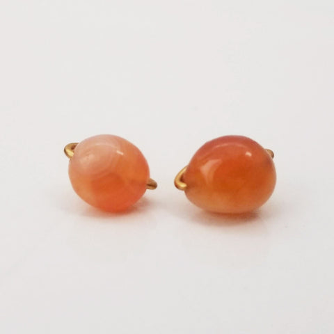 Orange Agate Pebble Charming Studs