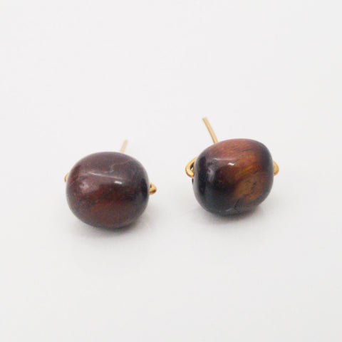 Tiger's Eye Pebble Charming Studs