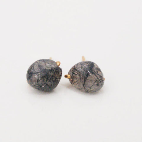 Black Tourmalinated Quartz Charming Studs