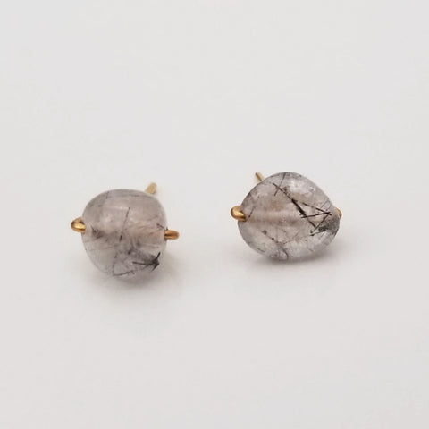 White Tourmalinated Quartz Pebble Charming Studs