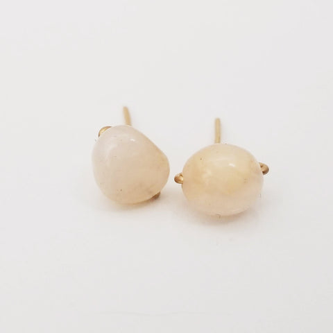 White Agate Pebble Charming Studs