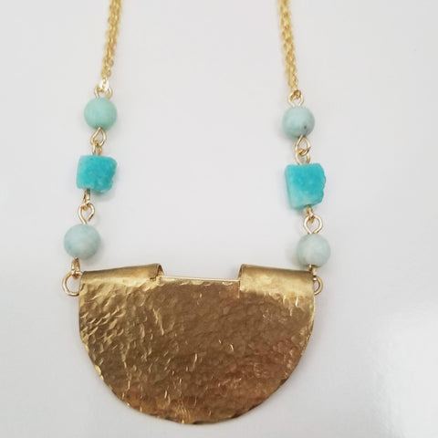 Amazonite Brass Cut Out Necklace