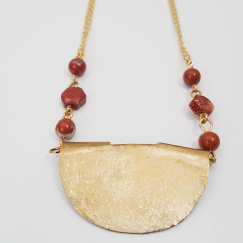 Apple Jasper Brass Cut Out Necklace